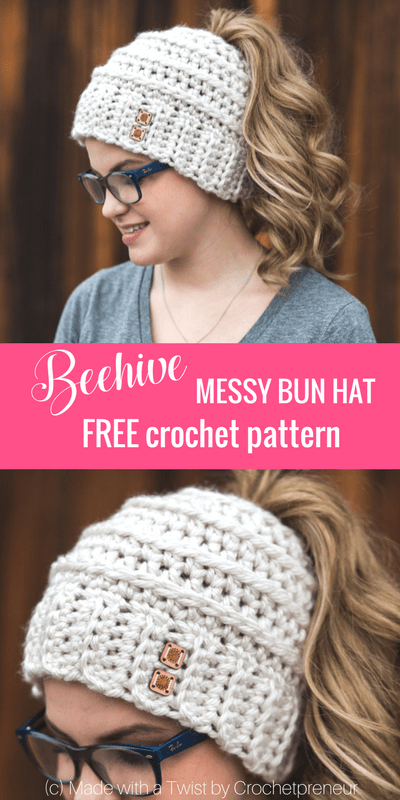 4c19a19086959c Free Crochet Pattern for the Chelsea Beehive Messy Bun Hat from Made with a  Twist! It even comes with an optional upgrade to make it with stripes and a  bow!