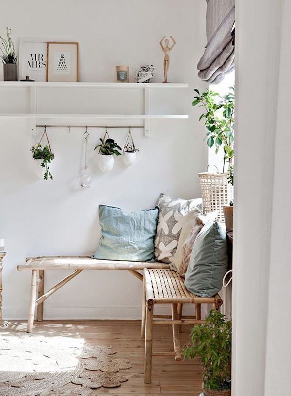 Entryway With Light Wooden Bench Plants And White Shelf Apartment Furniture Home Decor House Interior #wooden #bench #living #room
