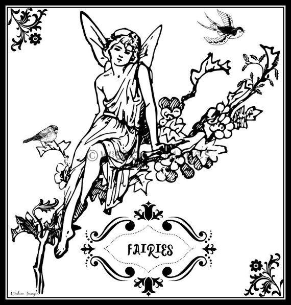 Adult Coloring Page Art Nouveau Woodland Fairy by WisdomImages ...