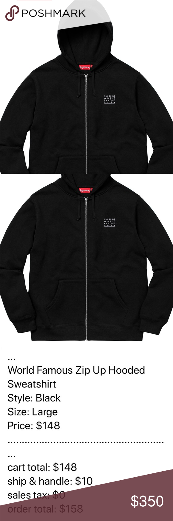 Supreme World Famous Zip Hoodie Black Hoodie Men S Large Will Include The Bag And Stickers If They R Supreme Sweater Black Supreme Hoodie Sweatshirt Fashion [ 1740 x 580 Pixel ]