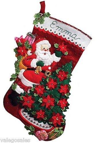 Bucilla #Felt #Applique #Embroidery #SANTA #POINSETTIA TREE #Stocking ♥ #ebay #sale #Christmas #holiday #gift #home #decor #DIY #project #handcraft #handmade #needlework #stitching #personalize