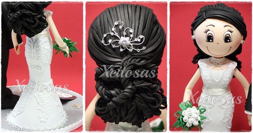fofucha novia personalizada con vestido corte sirena y un recogido