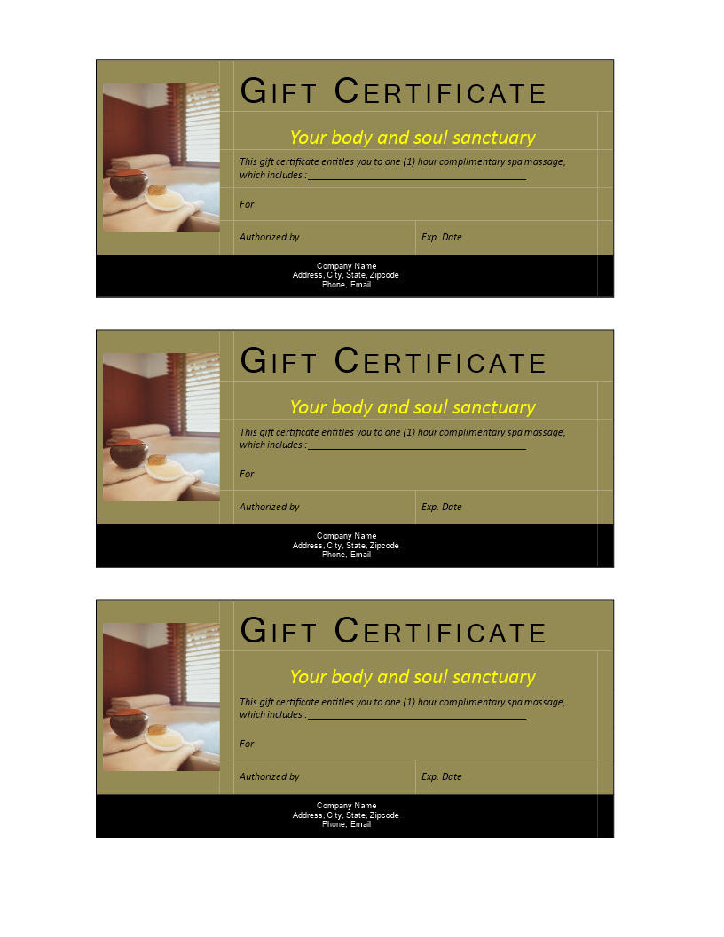 SPA gift certificate non cash value - Download this SPA gift ...