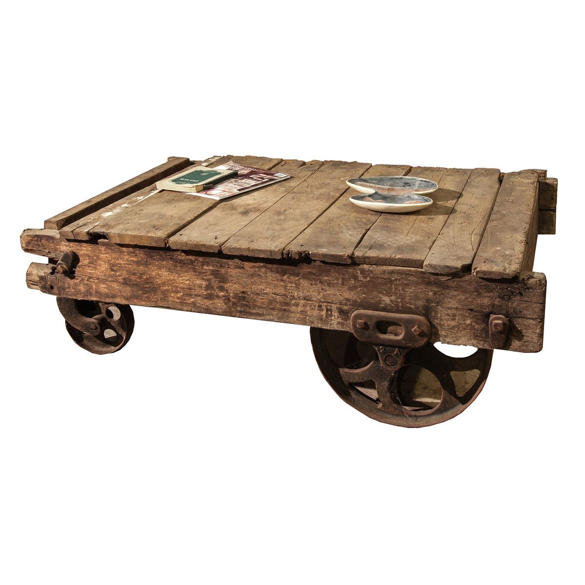 Steampunk Couchtisch Fab Barn Cart Coffee Table Home Life Upcycled
