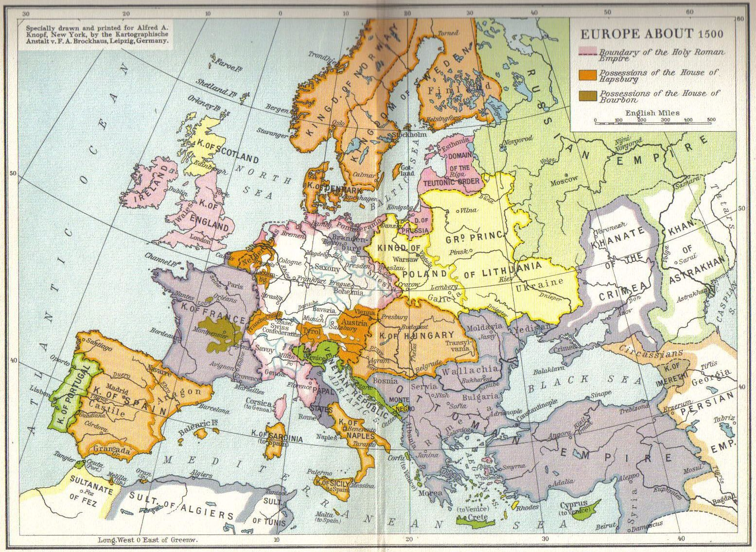 Superb MAP Of Europe C.1500.