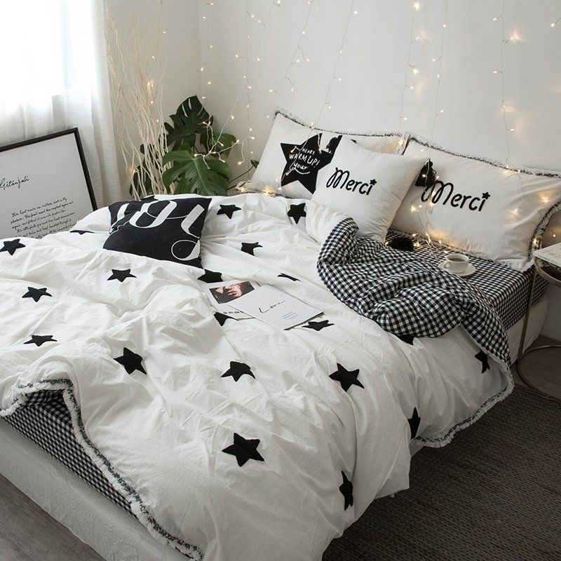 Simply Chic Black And White Star And Gingham Print Elegant Tassels Scottish Style Full Queen Size Bedding Bedspre Star Bedding White Bedspreads Bedding Sets