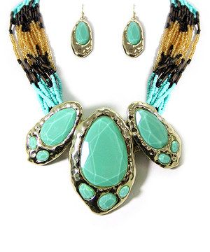 This Teal & Brown Seed Bead Statement Necklace & Earrings by MOA International Corp is perfect! #zulilyfinds