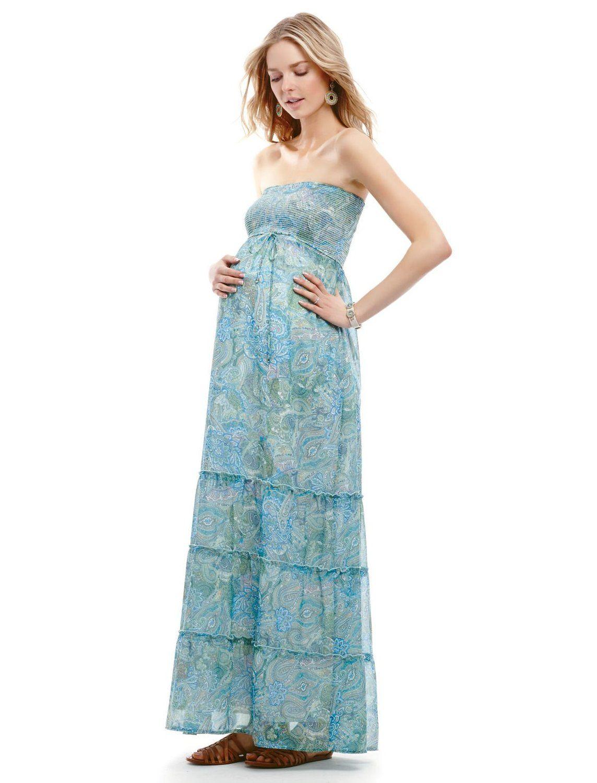 acc8a26a66b4 Jessica Simpson Strapless Empire Waist Maternity Maxi Dress | { oh ...