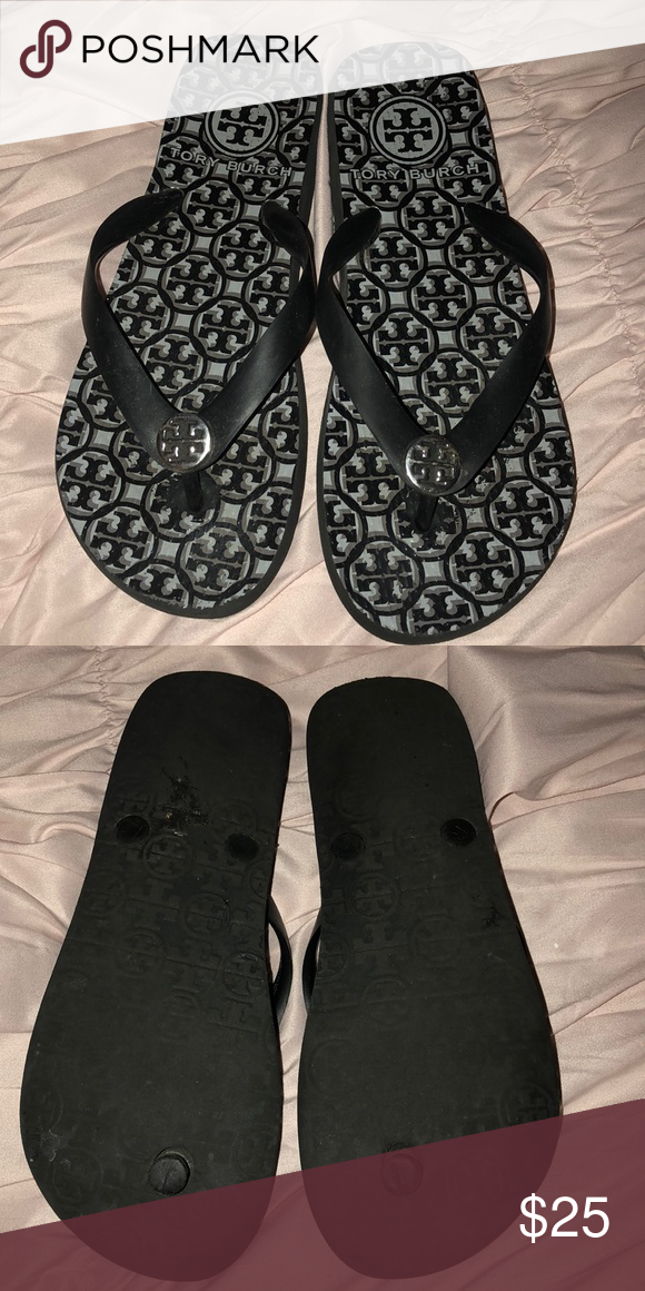 3e0128934e4e Tory Burch Flip Flops Black and grey flip flops. Black straps with silver  logo. Good condition. I am not sure of the size but I wear a 7 and they fit  ...