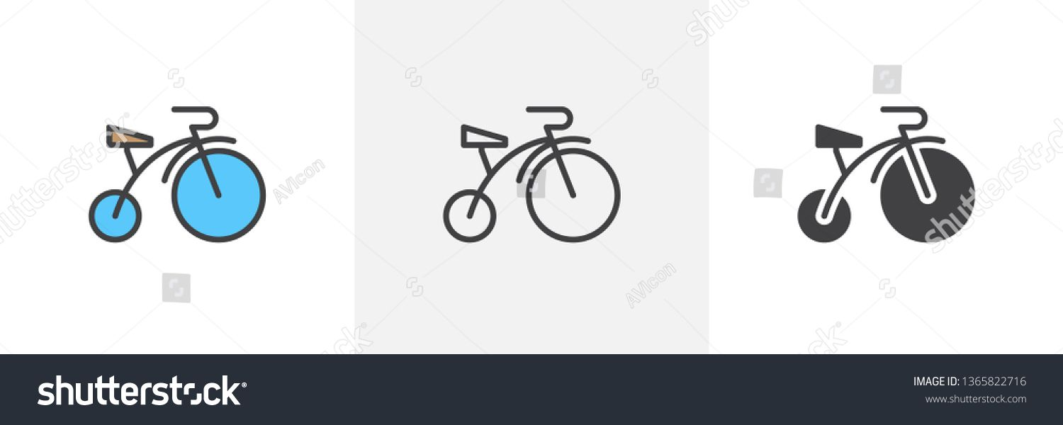 Baby Bicycle Icon Line Glyph And Filled Outline Colorful Version
