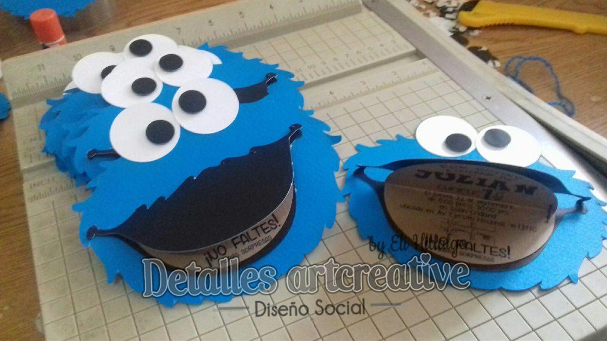 Invitacion Silueta de Cookie Monster | Monstruo come galletas ...