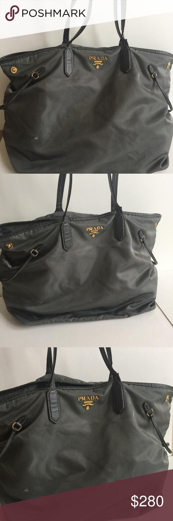 9c473fb20385 ... discount prada taupe leather trim and nylon shoulder bag authentic prada  nylon tote bag with leather