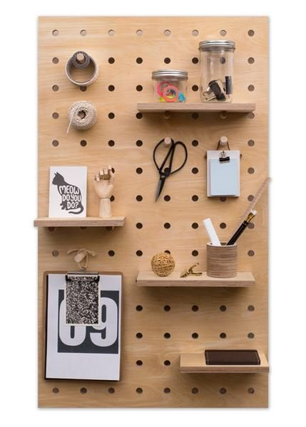 Peg It All Pegboard Wall Mounted Storage Panel In Birch Plywood Hanging Pegboard Storage Plywood Projects Wooden Pegs