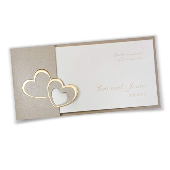 Einladungskarte Zur Hochzeit Mit Formstanzung Und Geprägten, Goldenen  Herzen. Ein Herz Ist Mit Einer