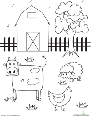 Barn Coloring Page Farm animals preschool, Farm animal