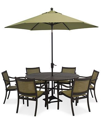 Lexford 7 Piece Aluminum Patio Set 60 Round Table And 6 Dining