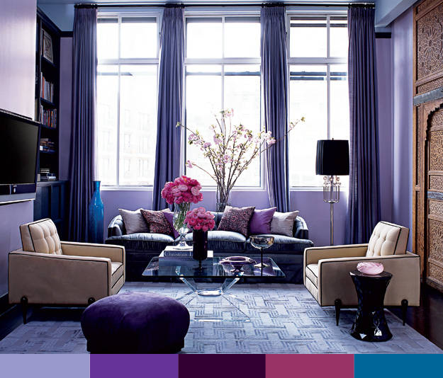 monochromatic lounge. Purple Living RoomsLiving Room ColorsLavender ...