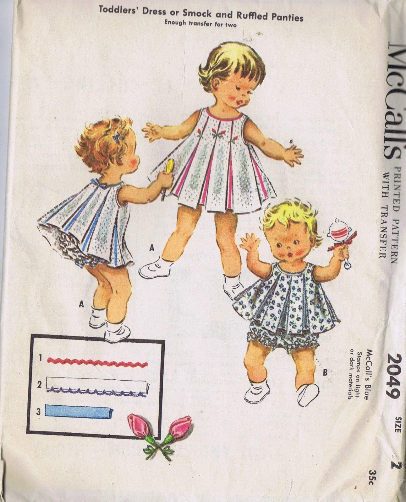 Girls Dress Panties Vintage Sewing Pattern 2049 McCalls Size 2 ...