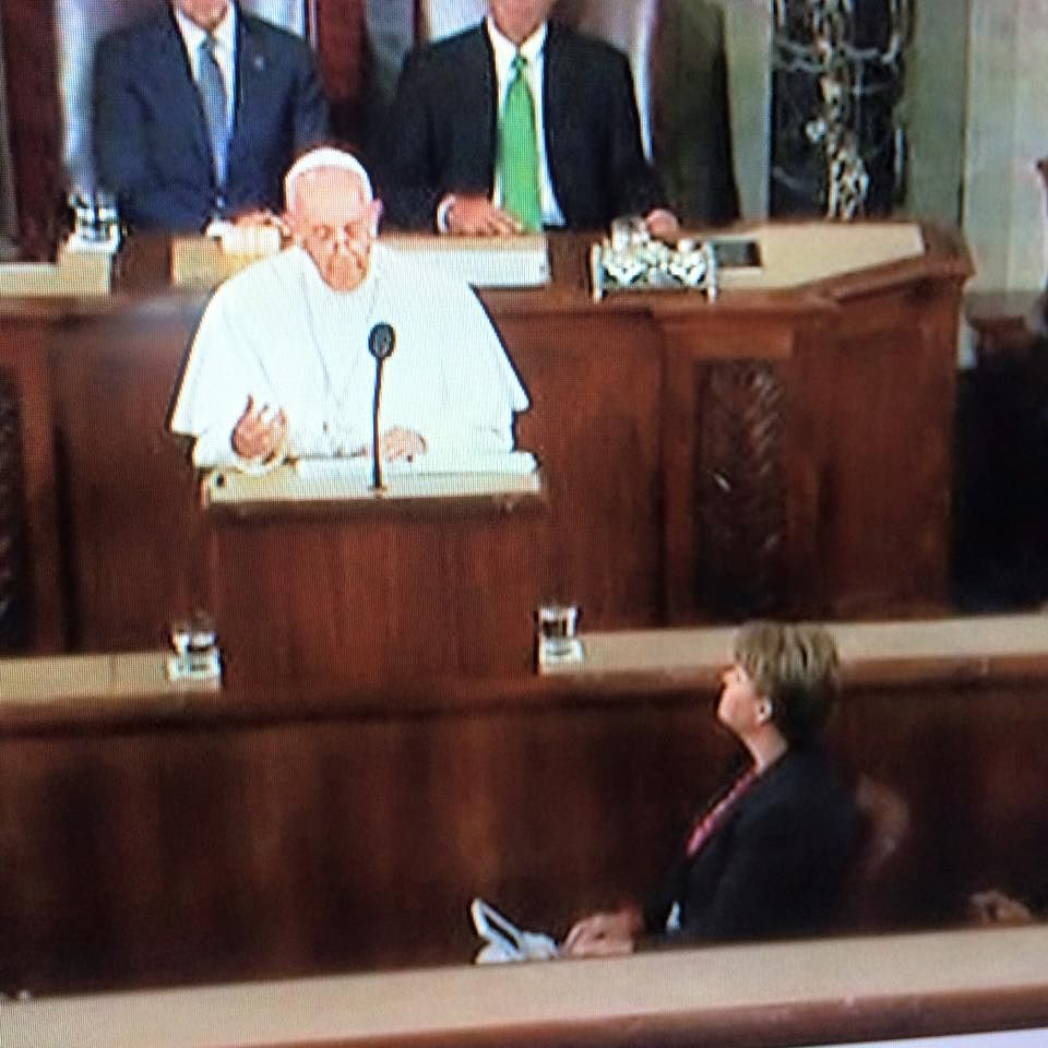 Court reporter is front and center at the Pope's speech in