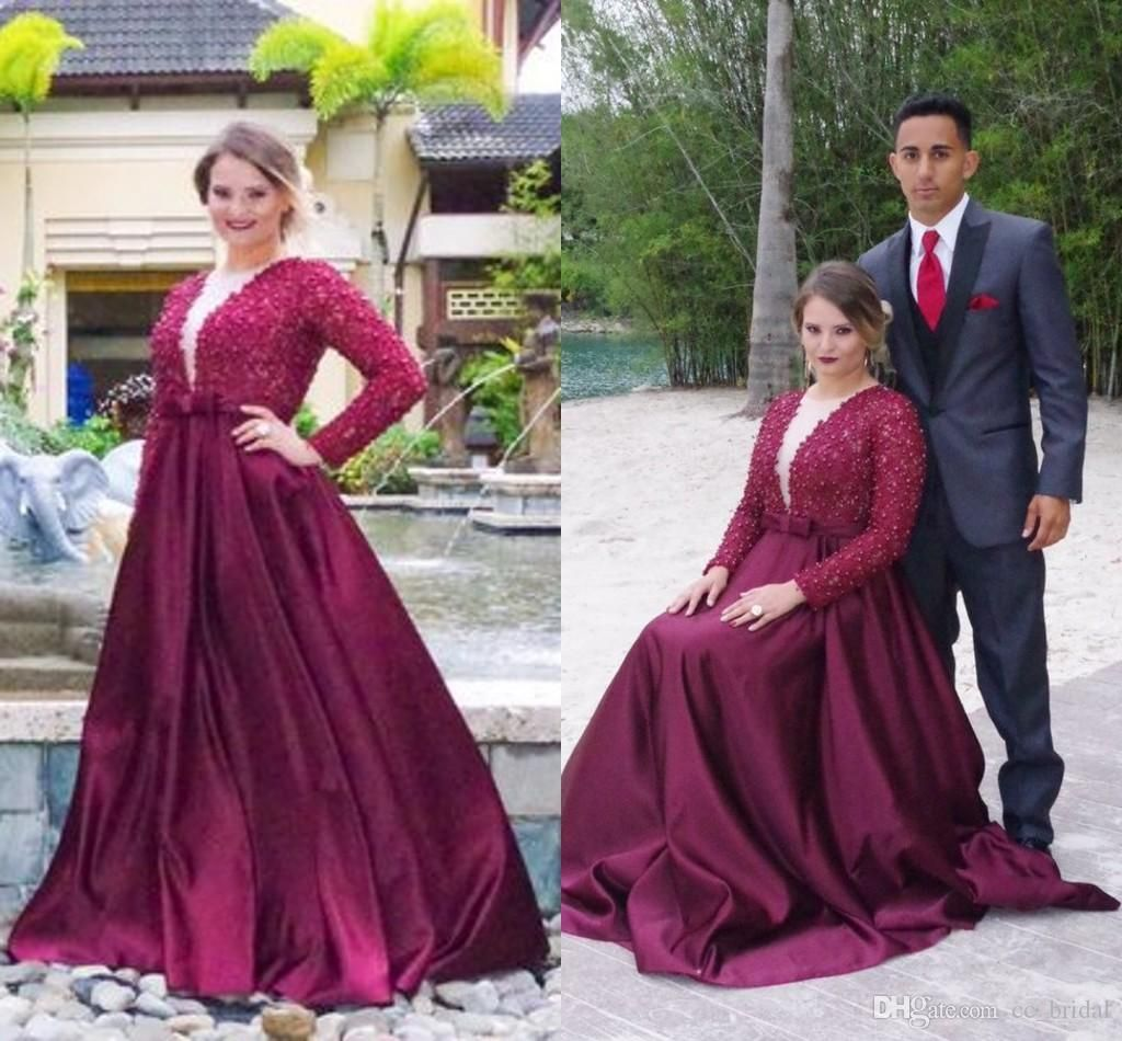 Elegant Perals Burgundy Prom Dresses 2016 With Long ...