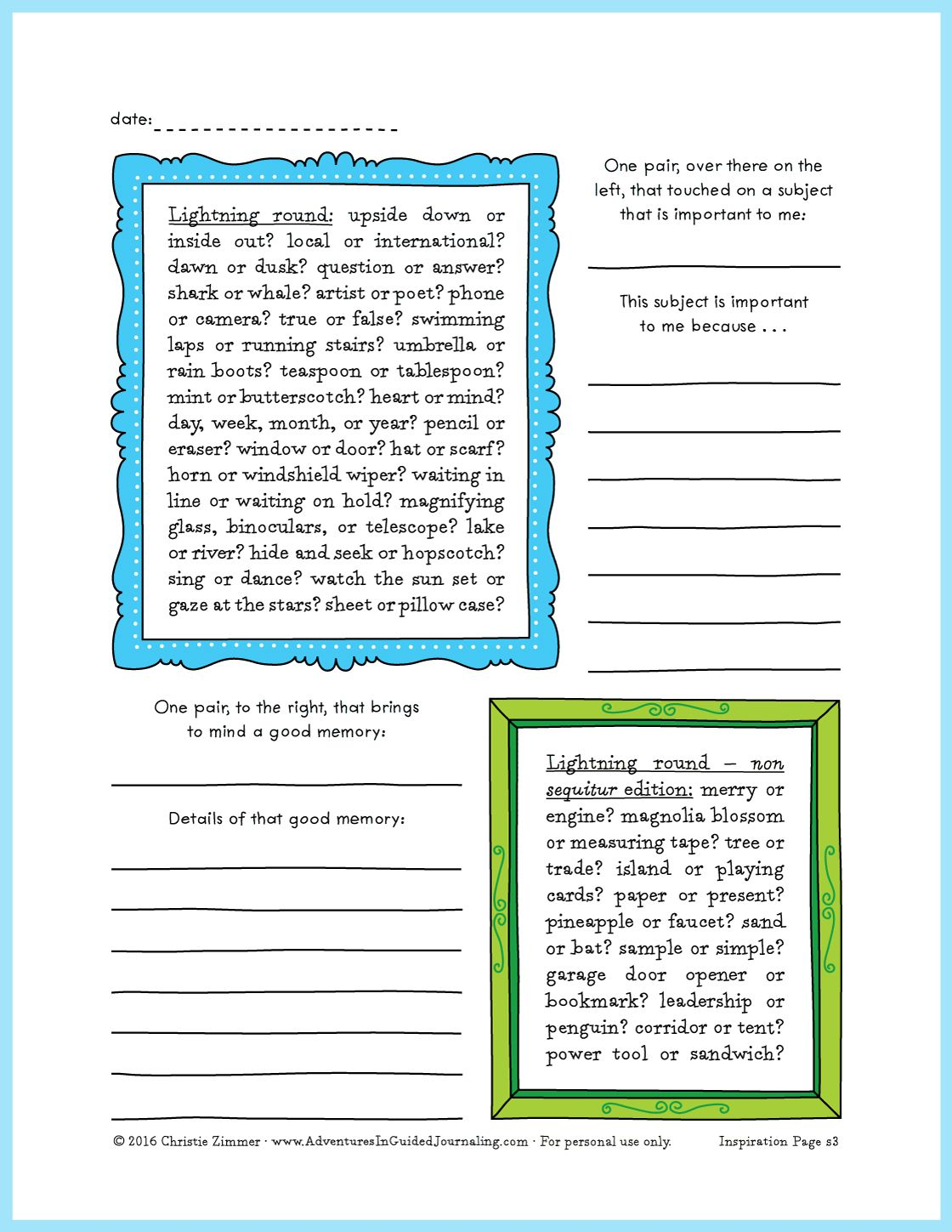 Lightning Round Printable Journal Page From Adventures In Guided Journaling By Christie Zimmer