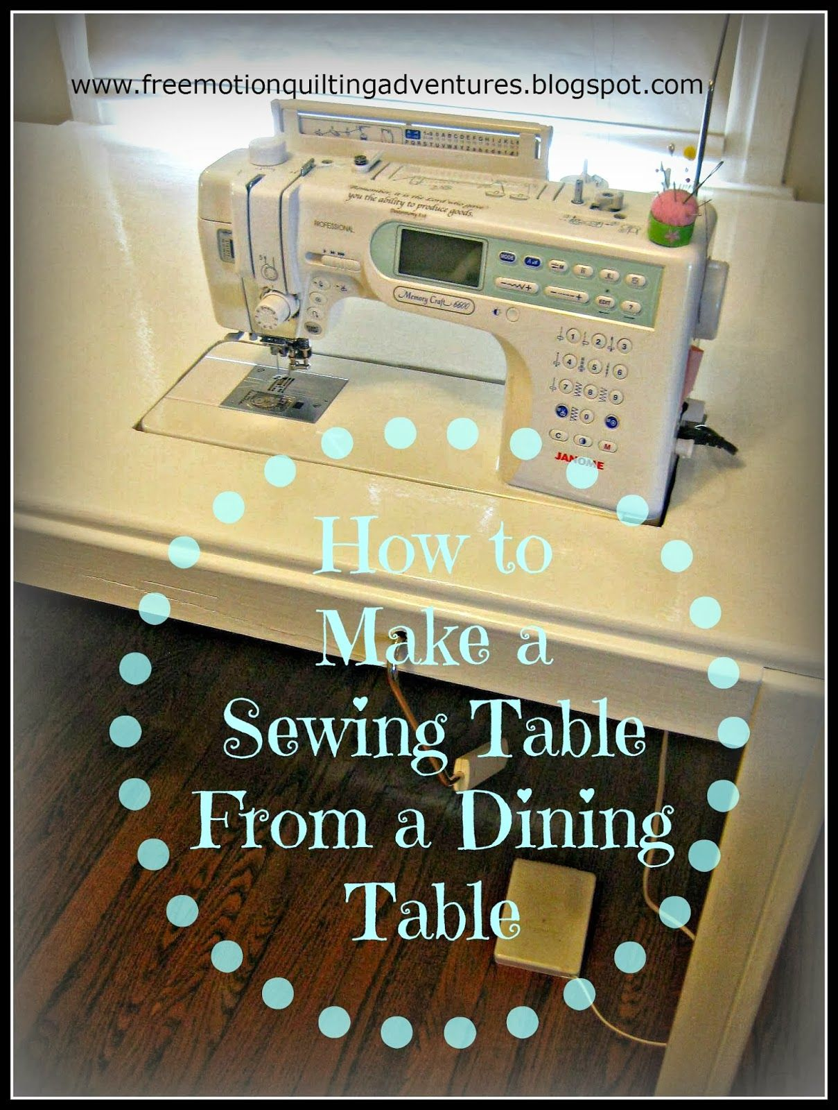 Diy How To For A Free Motion Quilting Table Must Show Hubby This So He Can Do My Table Asap Love L Diy Sewing Table Sewing Machine Table Diy Quilting Room