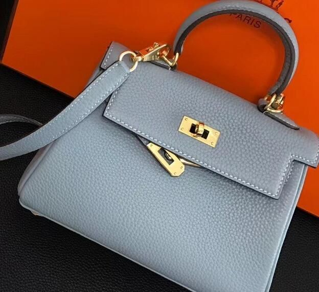 Hermes Bags 2018 Clemence Leather Kelly 20cm Mini Bag Baby Blue