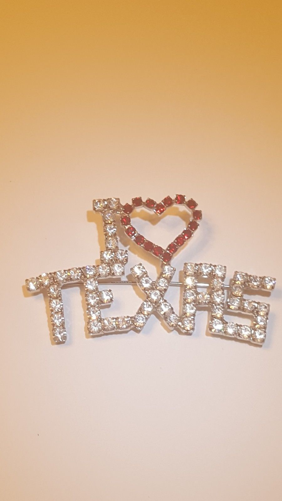I Love Texas Rhinestone Pin Brooch 4th of July Pin