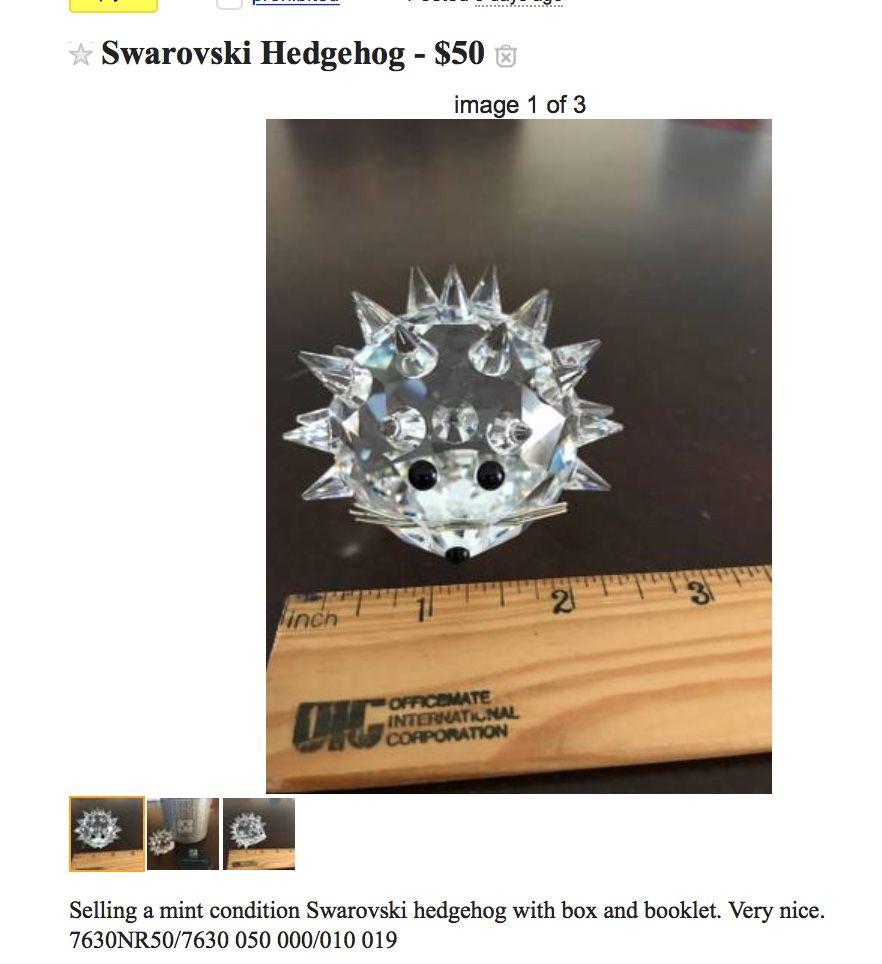 crystal hedgehog swarovski craigslist west virginia found on