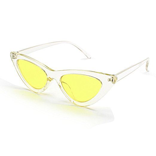 8bc86eadc4b Livhò Retro Vintage Narrow Cat Eye Sunglasses for Women Clout Goggles Plastic  Frame (Clear yellow)