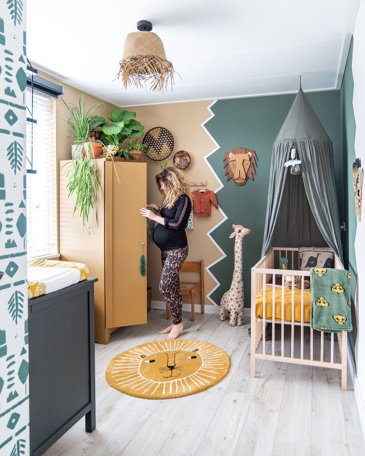 Nurseryroom with green, plants and jungle. nurserydecor nursery ...