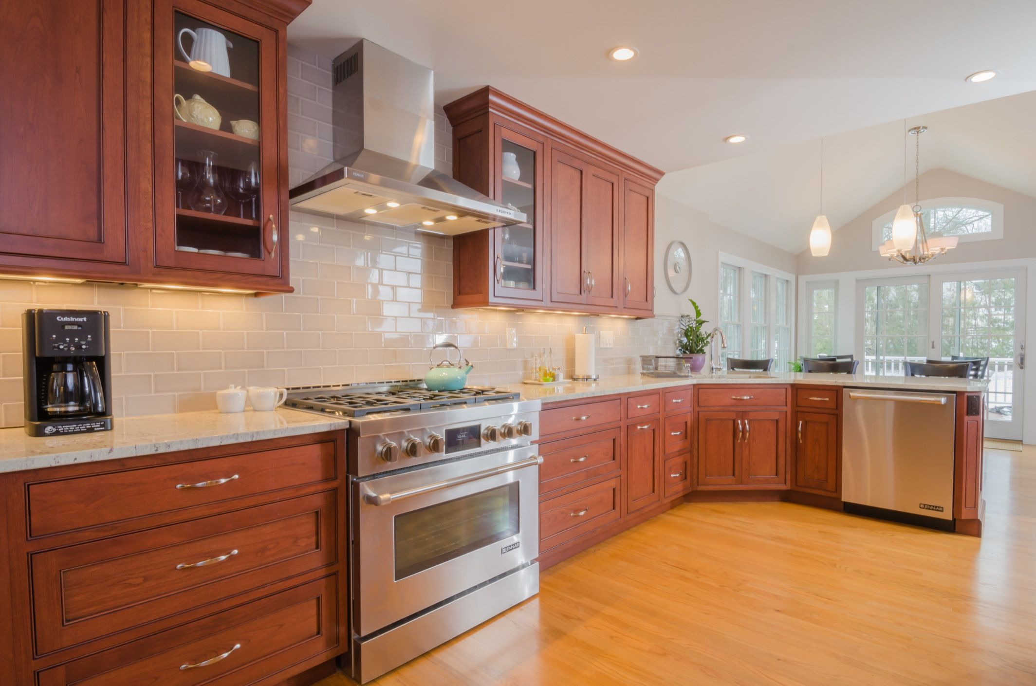 Kitchen Backsplash Tile Cherry Cabinets off white subway tile and simple pattern granite or marble | home