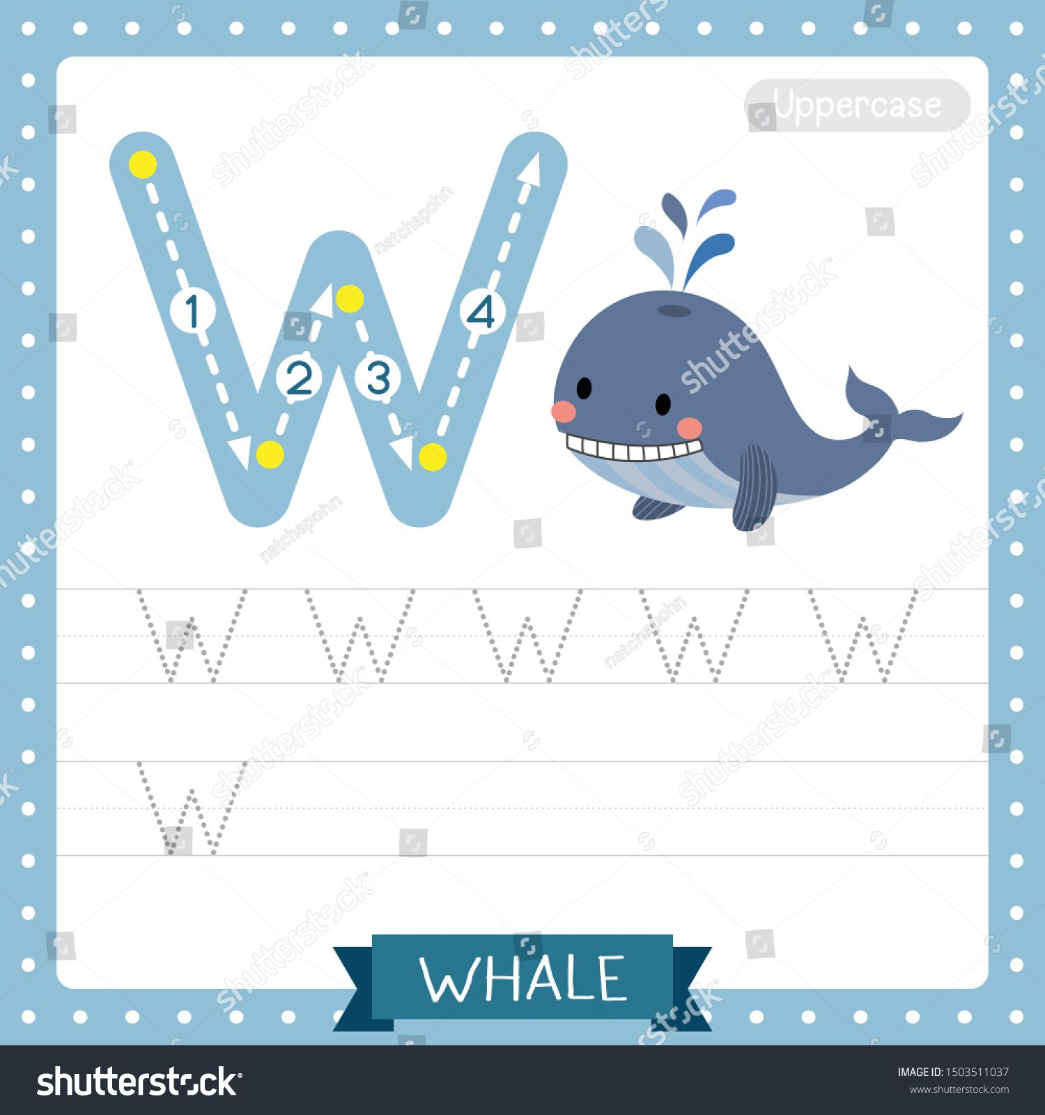 Letter W Uppercase Cute Children Colorful Zoo And Animals