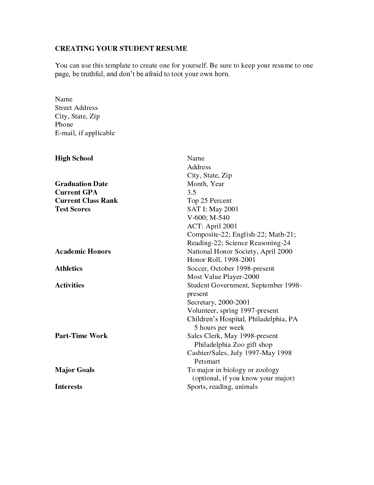 Resume Interests Examples High School Resume Academic Resume Builder Resume Templates  Http