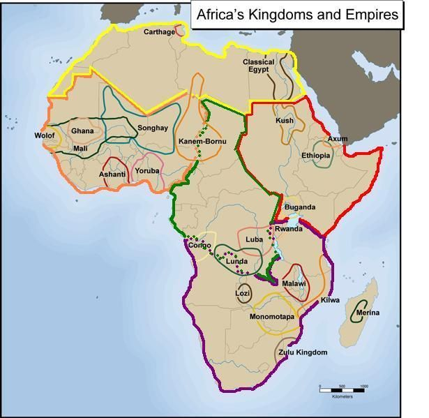 Precolonial Africa's kingdoms by region. Please note the first