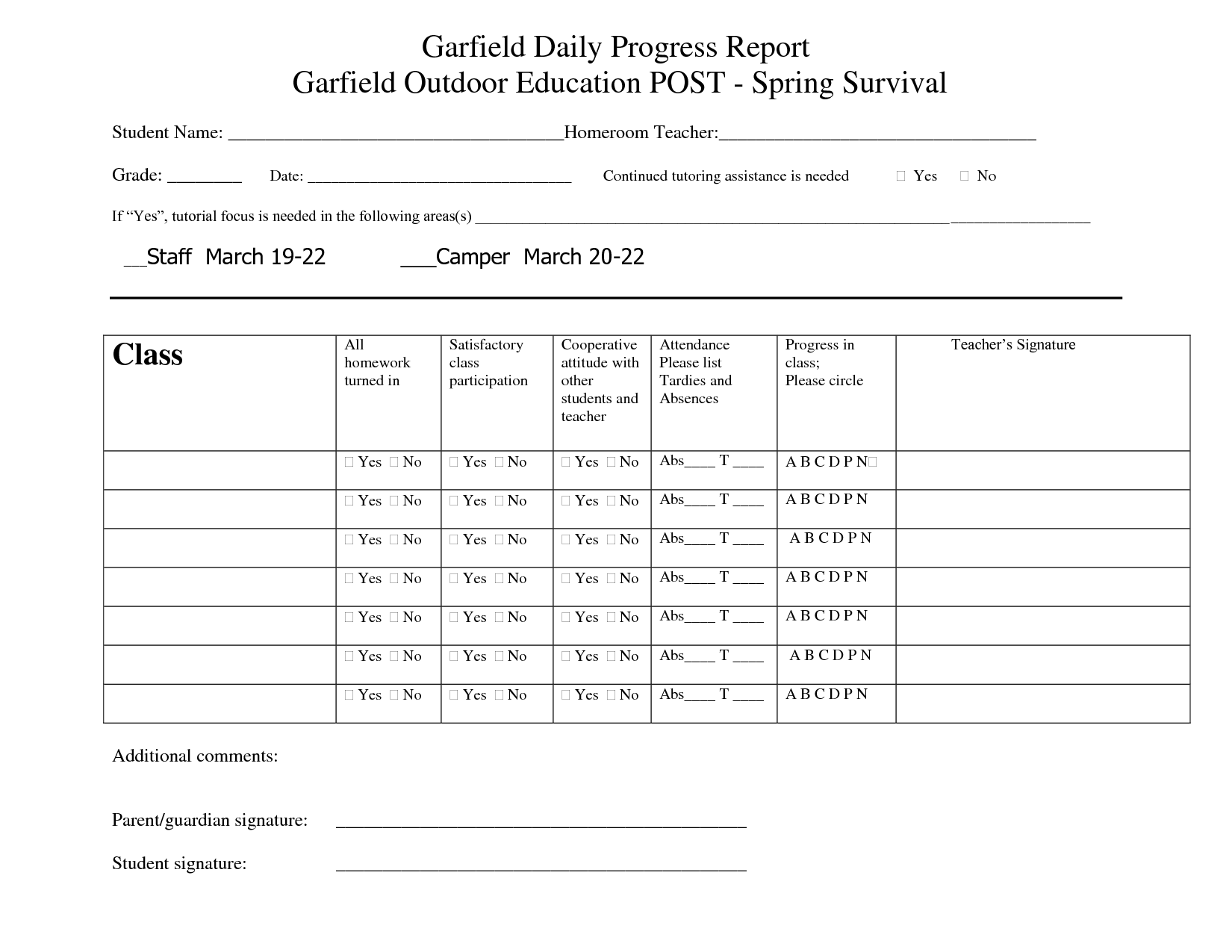 Printable Student Progress Report Template  Progress Reports