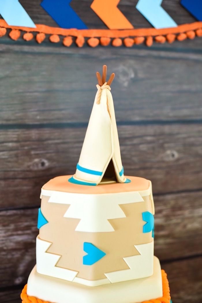 Tribal teepee cake from a Boho Tribal 1st Birthday Party on Karas