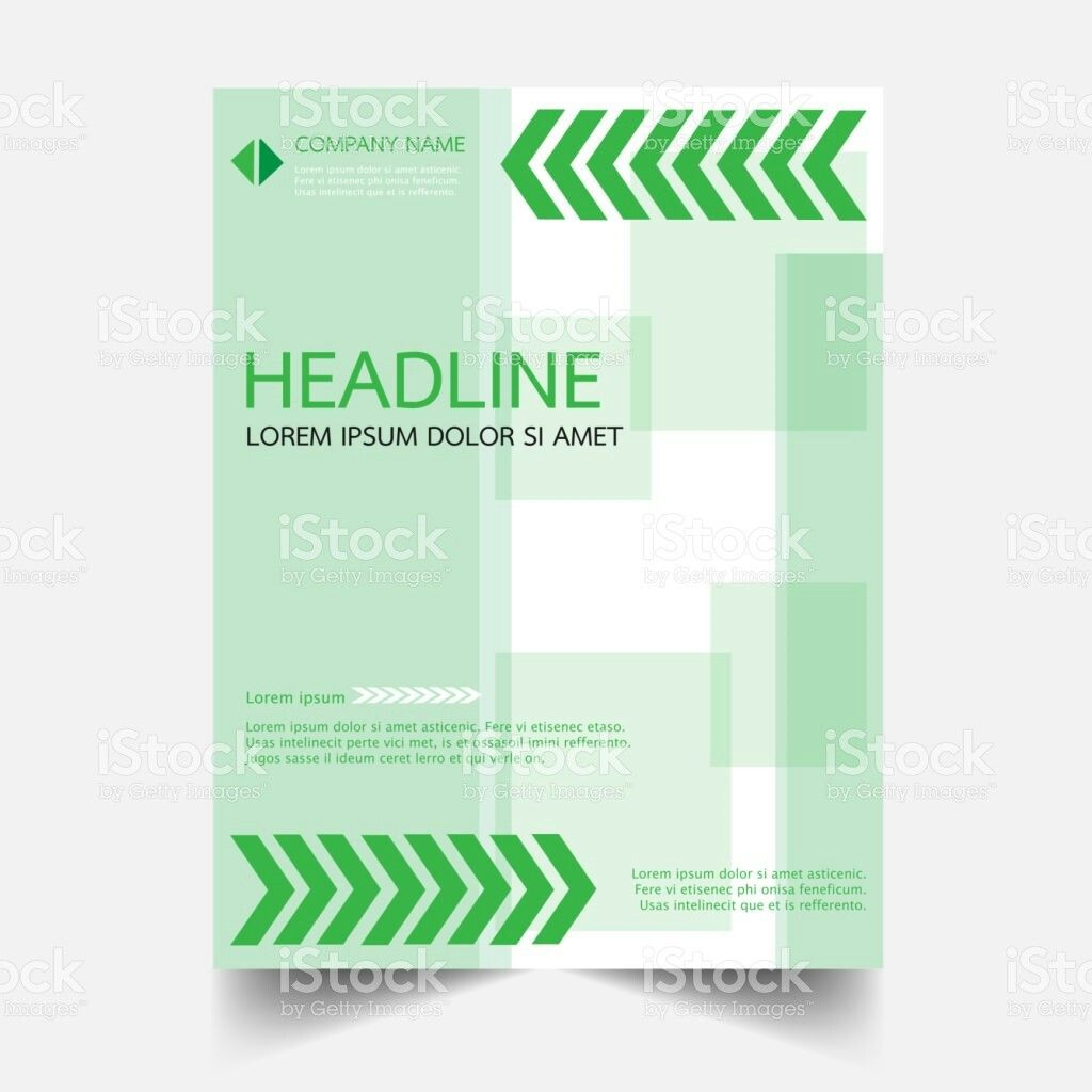 Company Green Brochure Flyer Template  Flat Design Illustration