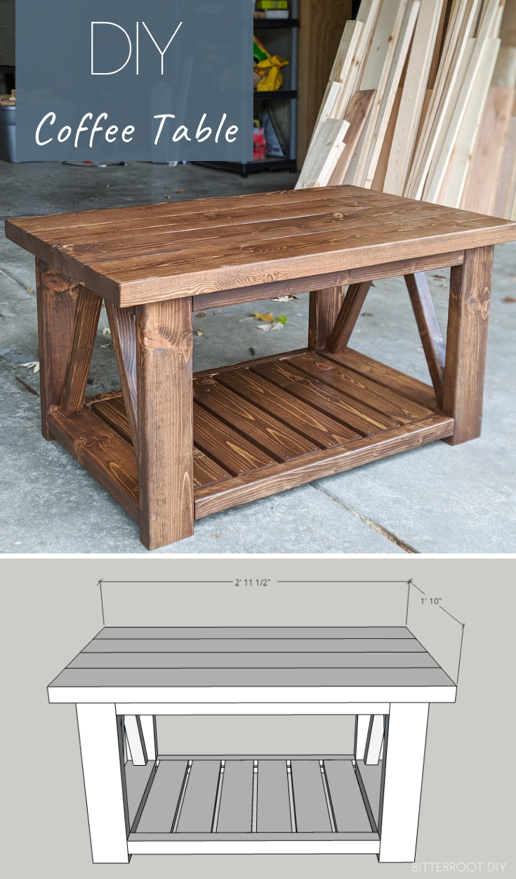 Diy Coffee Table With Truss Sides In 2020 Diy Farmhouse Coffee
