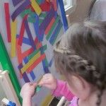 Rainbow colors on the sticky easel...in love with the sticky easel!