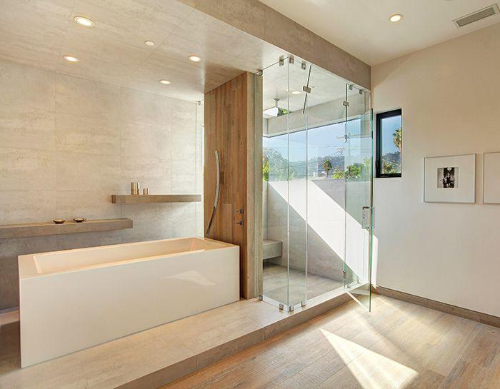 porcelanosa private residence master bath tile ruggine niquel