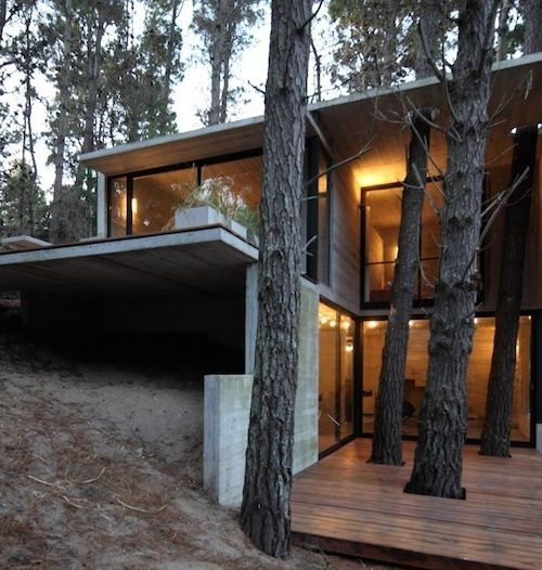 Two Hillside Cabins In The Trees By Feldman Architecture: Very Steep Slope House Plans