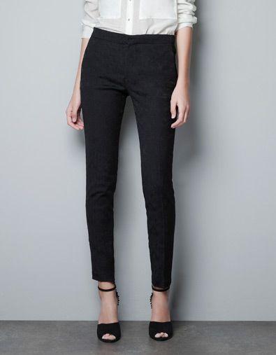 2a9e9154 my new fave pants | SKINNY JACQUARD PANTS - Trousers - Woman - ZARA United  States