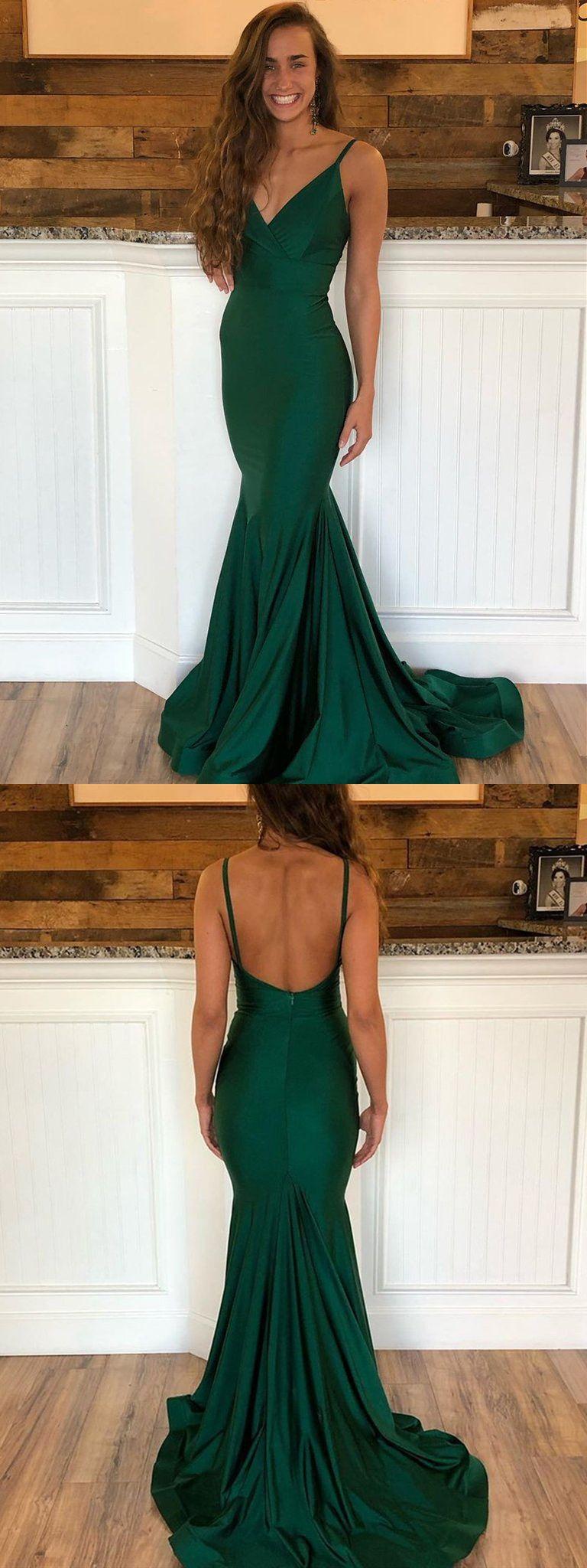 Emerald Green V Neck Mermaid Backless Long Prom Dresses With Sweep Train Emerald Green Mermaid Formal Graduation Evening Dresses Green Formal Dresses Emerald Green Prom Dress Green Prom Dress [ 2048 x 768 Pixel ]