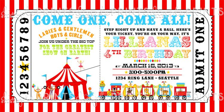Circus Train Ticket Birthday Invitation Circus train Circus party