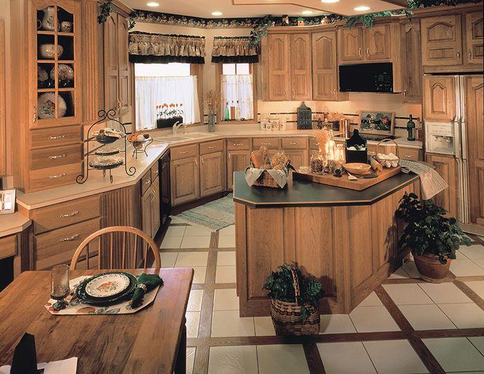 Perimeter Cabinets: Medium Hickory, 60/40 Arch Raised ...