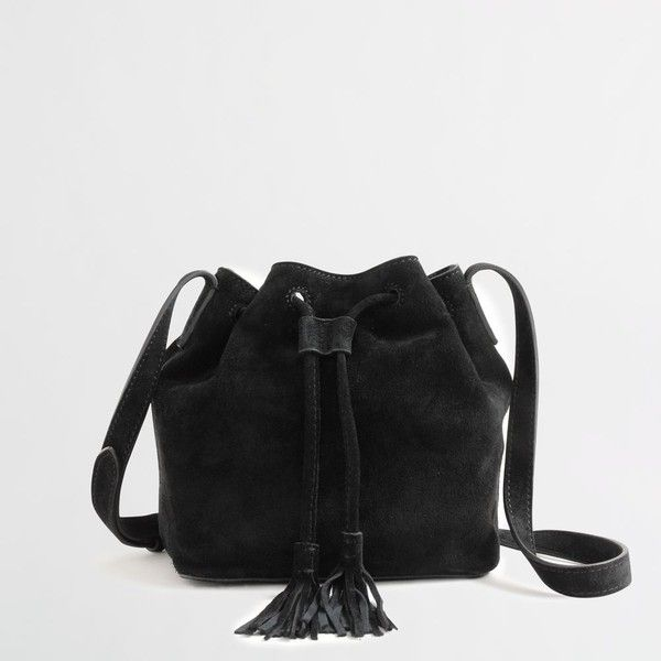 J.Crew Factory suede mini bucket bag with tassels ( 54) ❤ liked on Polyvore  featuring bags