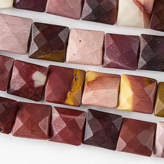 """Mookaite, 10 Faceted Squares, 8"""" Strand, 7MO62-0001"""
