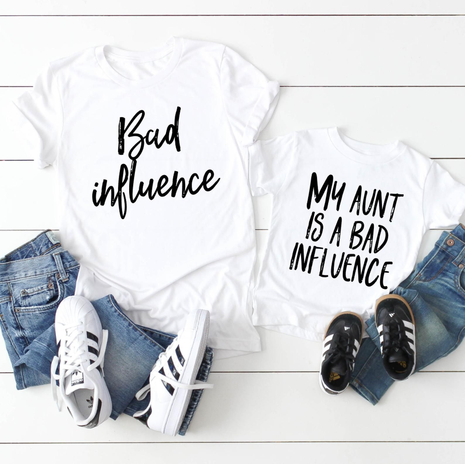 Aunt and nephew matching - Aunt and baby matching shirts - My aunt is a bad influence - Funny aunt shirts - Aunt and niece matching - Tia
