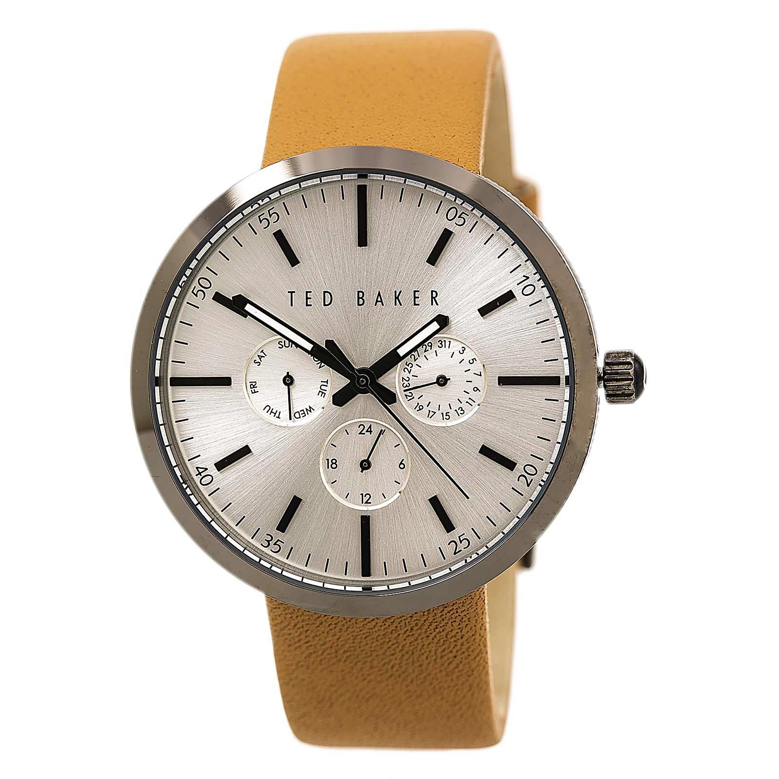 Ted Baker 10026558 Men's Smart Casual Silver Dial Brown Leather Strap Watch